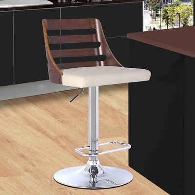 Adjustable Height Swivel Bar Stool Upholstery: Walnut/Cream