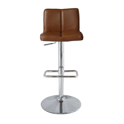 Anzalone Adjustable Height Bar Stool Upholstery: Tan