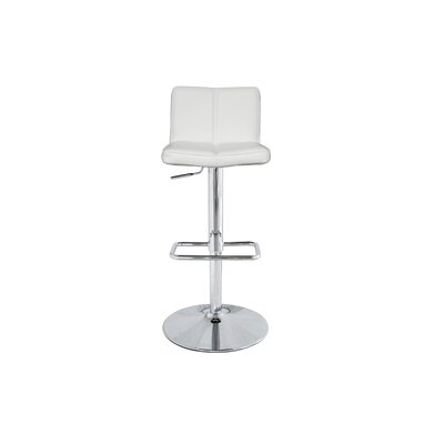 Anzalone Adjustable Height Bar Stool Upholstery: White