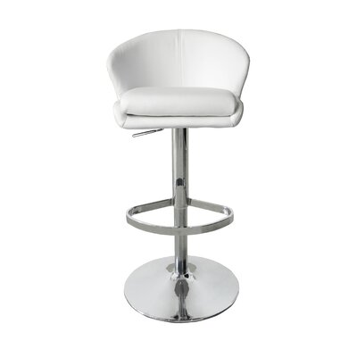Bartholdi Adjustable Height Bar Stool Upholstery: White