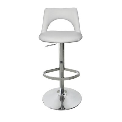 Buchanan Adjustable Height Bar Stool Upholstery: White