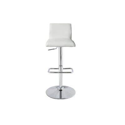 Amey Adjustable Height Bar Stool Upholstery: White