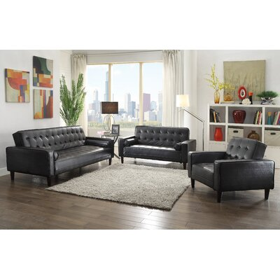 Derek Faux Leather Armchair Upholstery: Black