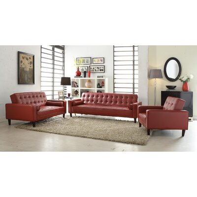 Derek Faux Leather Armchair Upholstery: Red