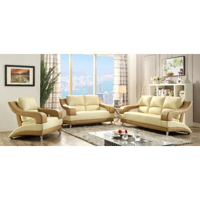 Terence Loveseat Upholstery: Beige Seat/Brown Arms