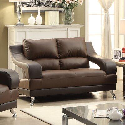 Terence Loveseat Upholstery: Dark Brown Seat /Brown Arms