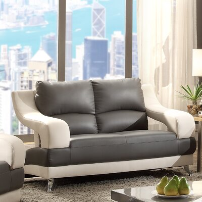 Palice Loveseat Upholstery: Gray Seat/White Arms