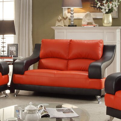 Palice Loveseat Upholstery: Red Seat/Black Arms