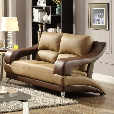 Palice Loveseat Upholstery: Saddle Seat/Brown Arms