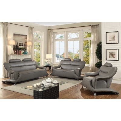 Sky Sofa Upholstery: Gray Faux Leather