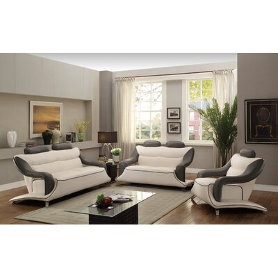 Sky Sofa Upholstery: Gray/White Faux Leather