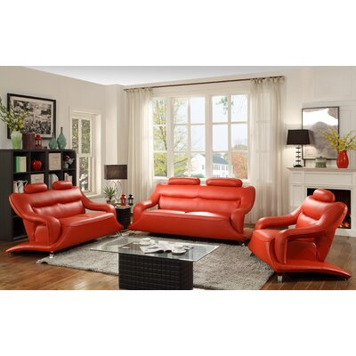 Sky Sofa Upholstery: Red Faux Leather