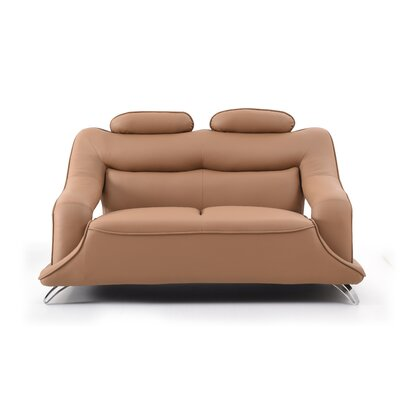 Lamour Loveseat Upholstery: Tan Faux Leather