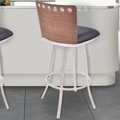 Webber 26 Swivel Bar Stool Upholstery: Black