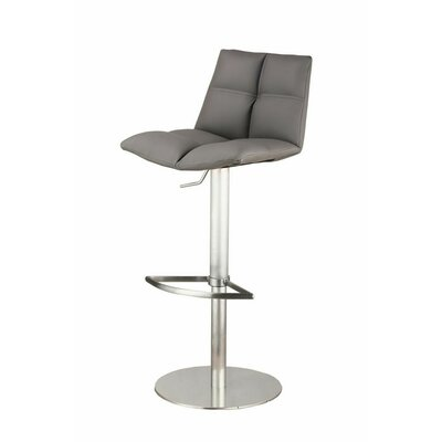 Maitland Adjustable Height Swivel Bar Stool with Cushion Finish: Brushed Stainless Steel, Upholstery: Gray