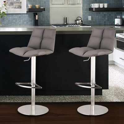 Maitland 23 Swivel Bar Stool Base Finish: Gray Painted Metal, Upholstery: Gray