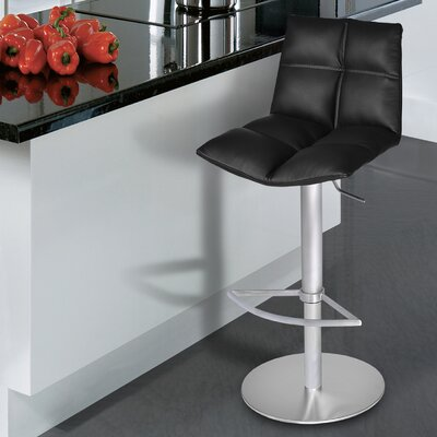 Maitland Adjustable Height Swivel Bar Stool Finish: Brushed Stainless Steel