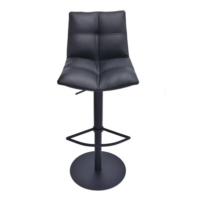Maitland Adjustable Height Swivel Bar Stool Finish: Black Metal