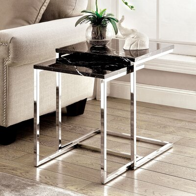 2 Piece Nesting Table Set Finish: Black