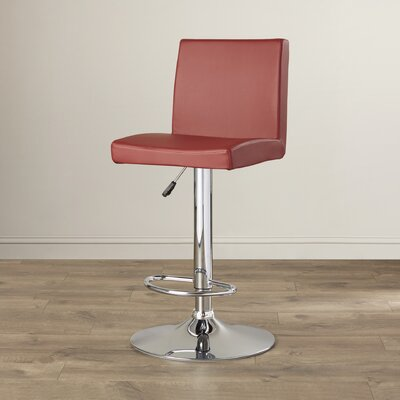 Compton Martin Adjustable Height Swivel Bar Stool (Set of 2) Upholstery: Burgundy