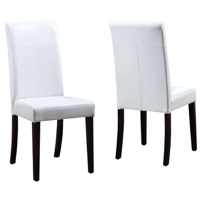 Baer Leatherette Parsons Chair Upholstery: White