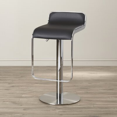 Landen Adjustable Height Swivel Bar Stool Seat Color: Black