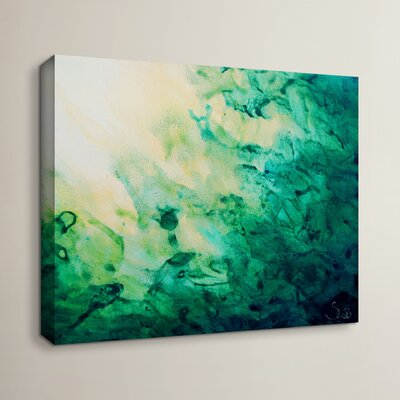 Furniture-Wade Logan 'Green Watery Abstract' by Shiela Gosselin Framed Painting Print on Wrapped Canvas