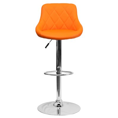 Clay Adjustable Height Swivel Bar Stool Upholstery: Orange