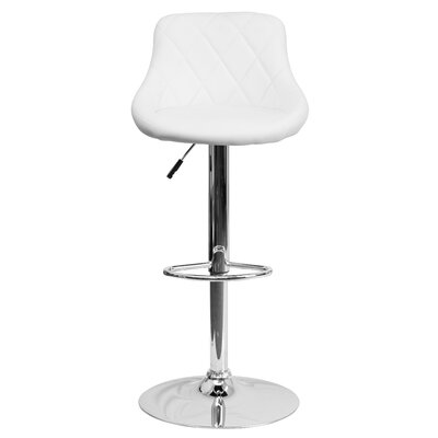 Clay Adjustable Height Swivel Bar Stool (Set of 2) Upholstery: White