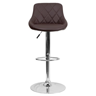 Clay Adjustable Height Swivel Bar Stool Upholstery: Brown