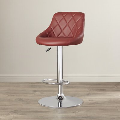 Clay Adjustable Height Swivel Bar Stool (Set of 2) Upholstery: Burgundy