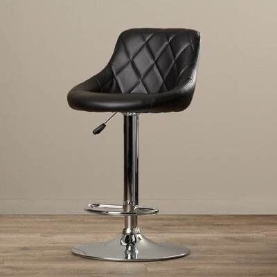 Clay Adjustable Height Swivel Bar Stool Upholstery: Black