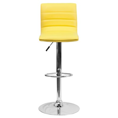 Clay Adjustable Height Swivel Bar Stool (Set of 2) Upholstery: Yellow