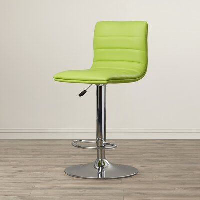 Clay Adjustable Height Swivel Bar Stool Upholstery: Green