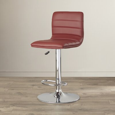 Clay Adjustable Height Swivel Bar Stool Upholstery: Burgundy