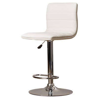 Clay Adjustable Height Swivel Bar Stool Upholstery: White