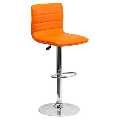 Clay Adjustable Height Swivel Bar Stool (Set of 2) Upholstery: Orange
