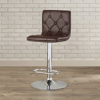 Clay Adjustable Height Swivel Bar Stool (Set of 2) Upholstery: Brown