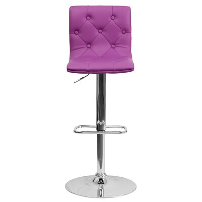 Clay Adjustable Height Swivel Bar Stool (Set of 2) Upholstery: Purple