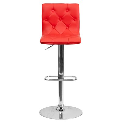 Clay Adjustable Height Swivel Bar Stool (Set of 2) Upholstery: Red
