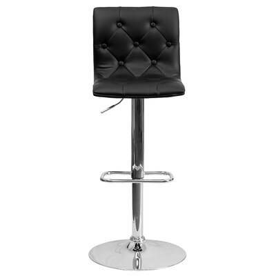 Clay Adjustable Height Swivel Bar Stool (Set of 2) Upholstery: Black