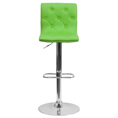 Clay Adjustable Height Swivel Bar Stool (Set of 2) Upholstery: Green