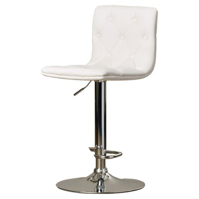 Clay Adjustable Height Swivel Bar Stool (Set of 2) Upholstery: Snow White