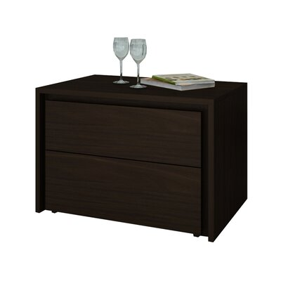 Austral 2 Drawer Nightstand (Set of 2) Finish: Espresso Veneer