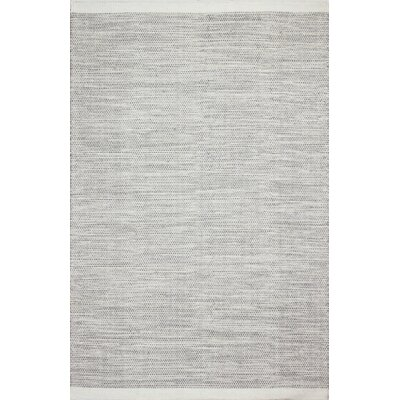 Hand-Woven Ivory/Grey Area Rug Rug Size: 5 x 7