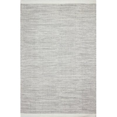 Hand-Woven Ivory/Grey Area Rug Rug Size: 76 x 96