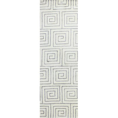 Donnie Hand-Tufted White/Grey Area Rug Rug Size: Runner 26 x 8