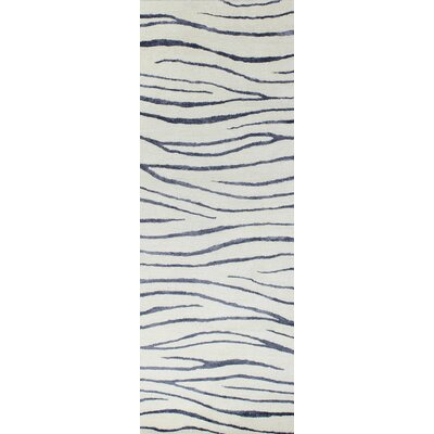 Donnie Hand-Tufted White/Navy Blue Area Rug Rug Size: Runner 26 x 8