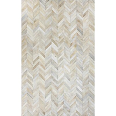 Leslie Flat woven White Area Rug Rug Size: 9 x 12