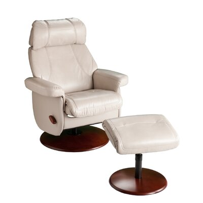 Clabaugh Black Swivel Glide Rocking Recliner with Ottoman Upholstery: Off White